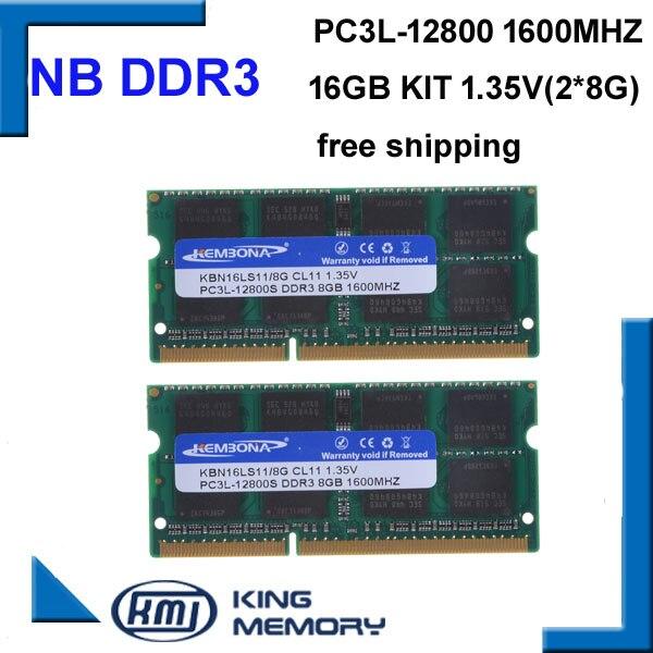 KEMBONA livraison gratuite meilleur prix sodimm ordinateur portable ram DDR3 16 GO (kit de 2 pièces ddr3 8 go) 1.35 v PC3L-12800 204pin mémoire ram