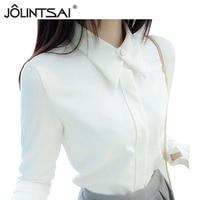 2016 Korean New White Shirt Chiffon Blusas Femininas Women White Black Blouses Elegant Woman Clothes