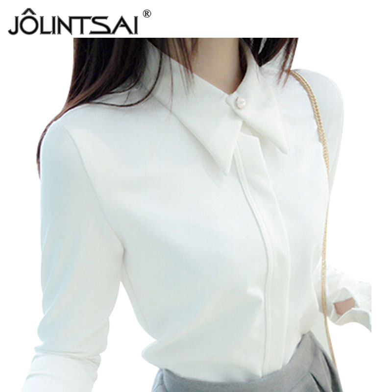 2016 Korean New White Shirt Chiffon Blusas Femininas Women White Black Blouses Elegant Woman Clothes
