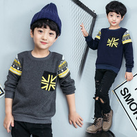 Baby Boys Sweatshirt Kids Long Sleeve Tops Panelled 2017 Brand Winter Clothes Boys Plus Velvet T