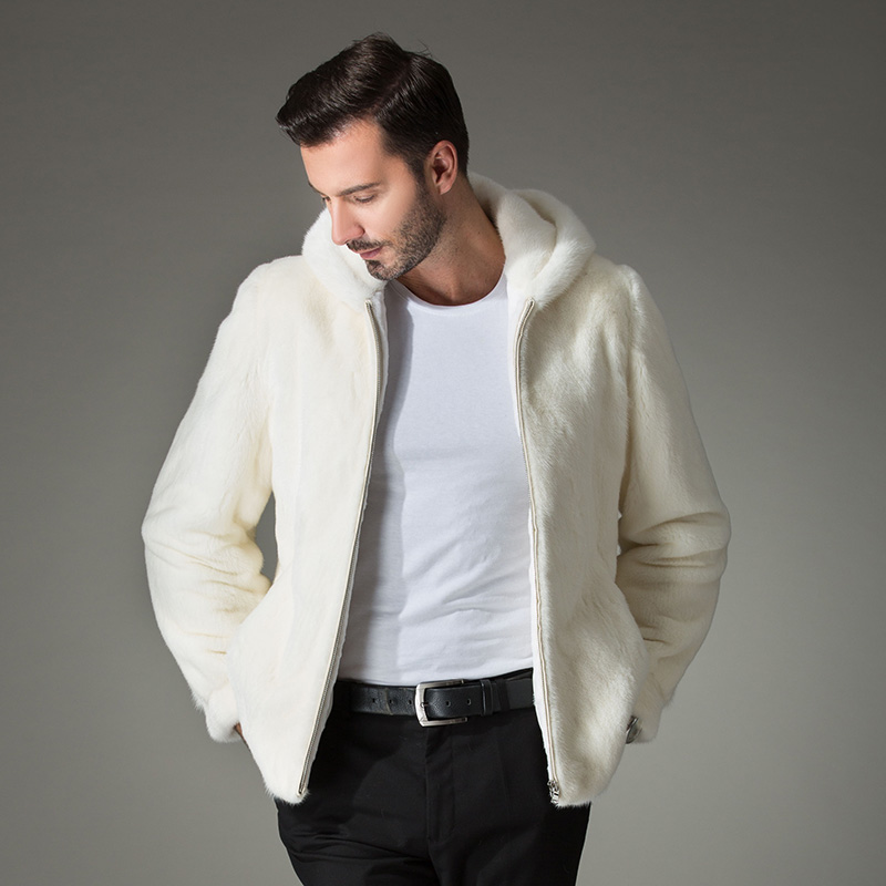 2017 Winter men's White fur coat clothing Simulated marten overcoat Men with a hood jacket men's clothing mink fur Outwear