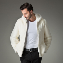 2018 Winter font b men s b font White fur coat font b clothing b font