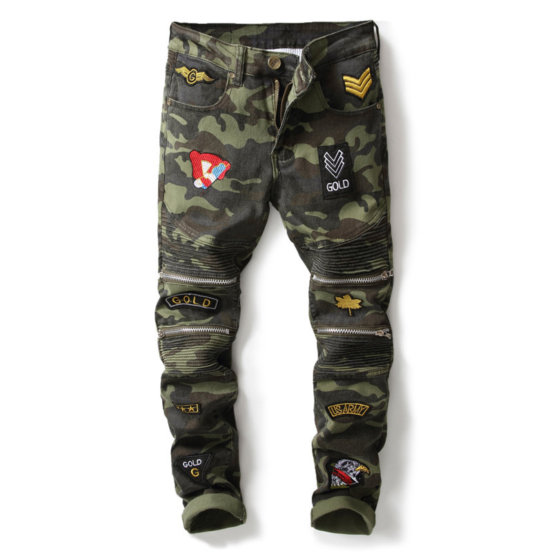 New designer camouflage military jeans men slim fit patchwork badges zipper moto biker denim pants pleated stretch mens trousers aboorun new mens pu patchwork slim fit jeans fashion skull rivet pencil denim pants with zippers for men b052