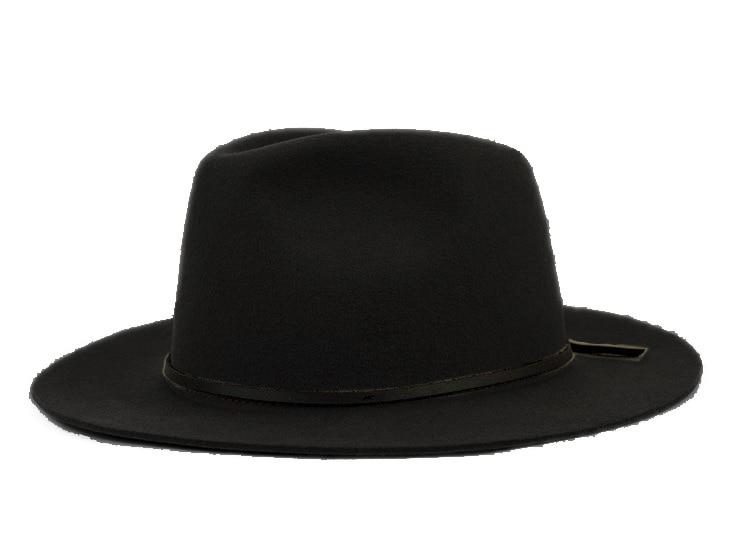 Модная шерсть Летняя женская мужская крученая натуральная Фетровая Шляпа Fedora Bush Sun Hat Trilby Gorra Toca Sombrero с кожаным ремешком - Цвет: Black