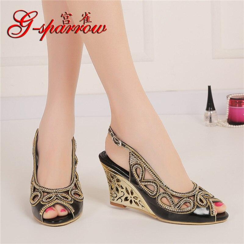 2018 Summer New Diamond Fashion Womens Black Peep Toe Wedges Bridal Sandals Wedding Shoes High Heels Cause Footwear