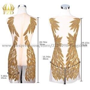 Image 2 - Fzd 1 セットて bodices パッチスパンコール縫製ラインストーンアップリケビーズ結婚式のイブニングドレスの鉄のためのパッチの服