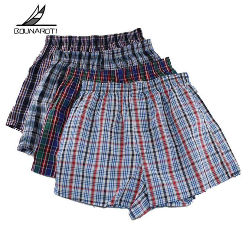 Classic Plaid Men Boxer Shorts Mens Underwear Trunks Cotton Cuecas Underwear Boxers Male Woven Homme Boxer Arrow Pants Plus Size