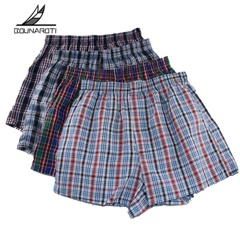 Classic Plaid Men Boxer Shorts Mens Underwear Trunks Cotton Cuecas Underwear Boxers Male Woven Homme Boxer Arrow Pants Plus Size
