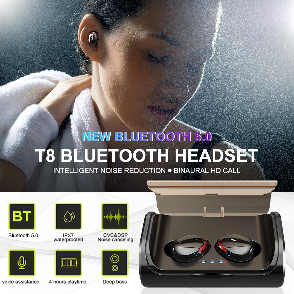 <font><b>T8</b></font> <font><b>TWS</b></font> Bluetooth Earphone BT 5.0 Headset IPX7 Waterproof Stereo Noise Reduction Sports HIFI Earphones With Charging Compartment image
