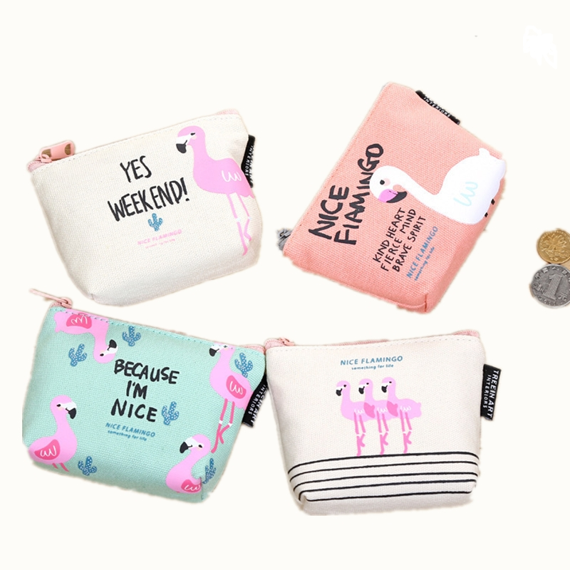 2017 New animal Style coin purse wallet women small canvas bags  Cartoon Flamingo Money Key holders Pouch Zipper Bag