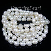 Pearl Necklace 46 Inches 7 5 8 0mm X 9 0 10mm AA White Long Pearl