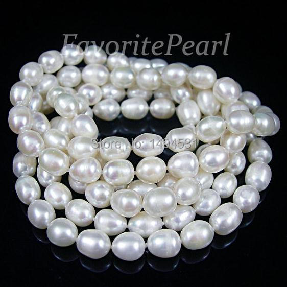Pearl Necklace - 46 Inches 7.5-8.0mm x 9.0-10mm AA White Long Pearl Necklace - Wholesale Jewelry Free Shipping