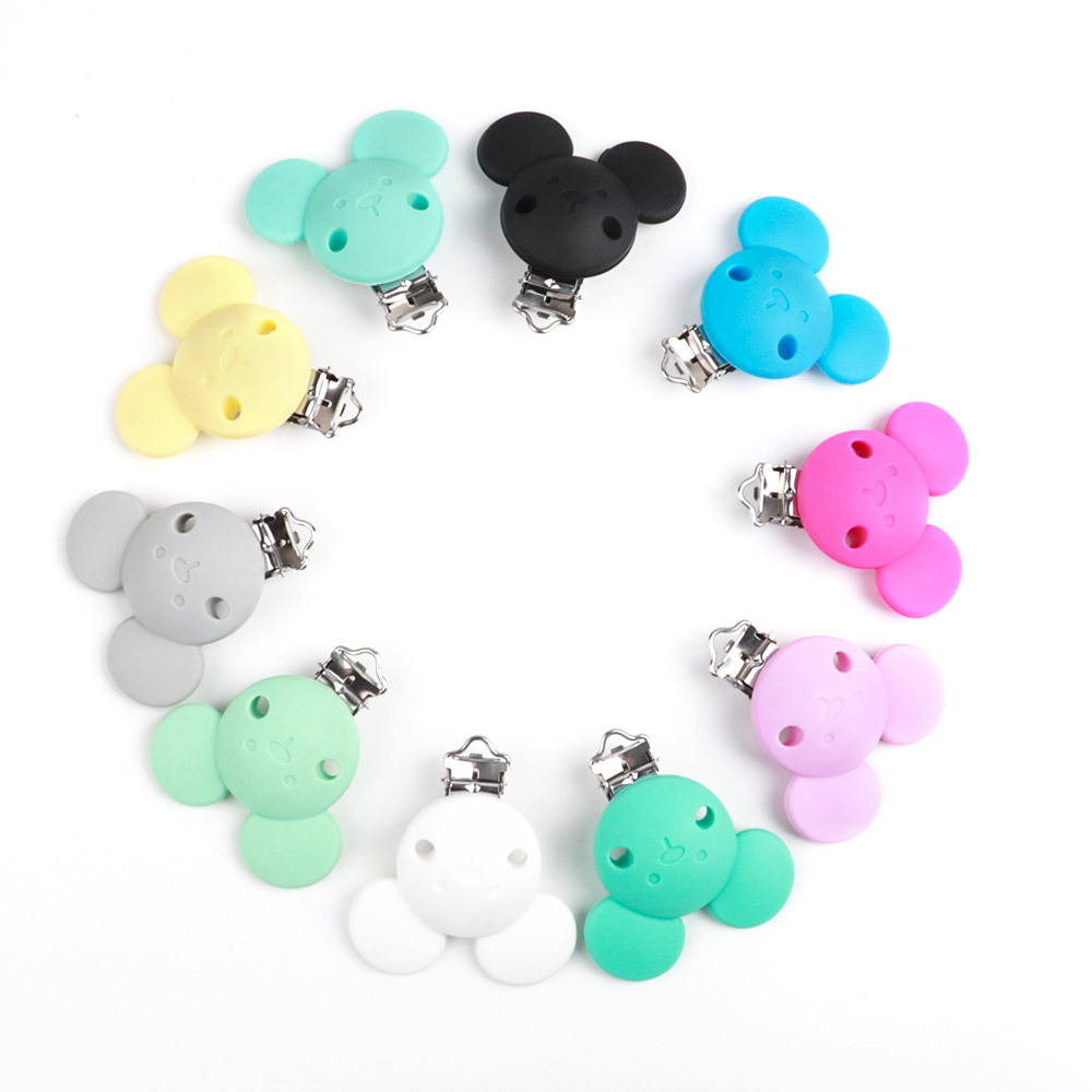 TYRY.HU 50PCS Baby Pacifier Clips Clasps Mickey Mouse Dummy Holder Clips Durable Beads Pacifier Accessories