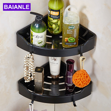 Black Bathroom Shelves Brushed Nickel Stainless Steel + ABS Plastic  Wall Mount triangle Shower Caddy Rack Bath Accessories