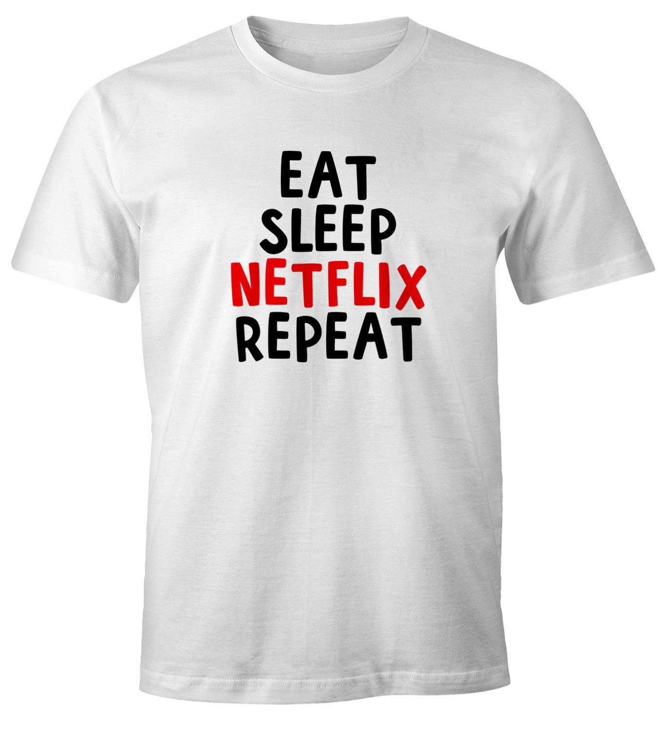 begrenzter Stil Original Kauf kostengünstig US $11.69 10% OFF T Shirt Eat sleep Netflix repeat Fun Shirt Spruch Shirt  Summer Short Sleeve tshirt new fashion top free shipping 2018 shirts-in ...
