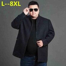 Plus 8XL 6XL 5XL 4XL high quality woolen sweater coats 2018 autumn winter men's mid length business business jacket coat jacket