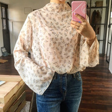 Fashion Women Shirts Tops 2017 Spring Flare Long Sleeve Turtleneck Blouse Sexy See Through Floral Print Loose Blusas