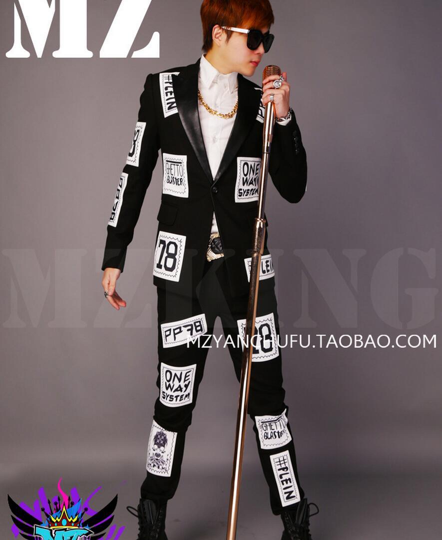 e50df2cb155d1 Hot 2019 moda męska DJ mody wełna wełniany młyn Patch płaszcz wierzchni  singer Stage kostiumy mężczyźni Suits wiosna szczupła Blzaer