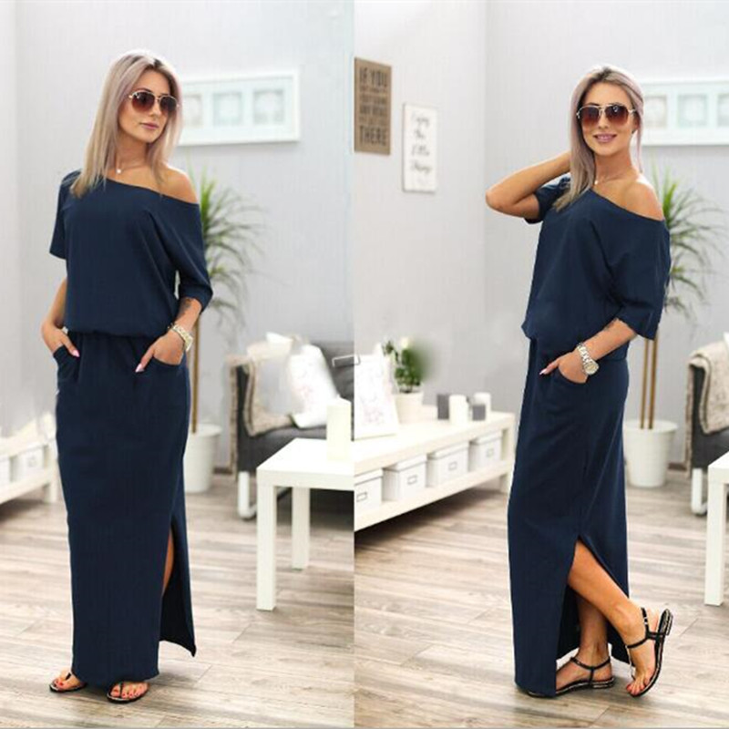 SHIBEVER Casual Loose Strapless women dress fashion sexy slash neck Side  slit Long maxi summer dress Ladies Hot sale NLD720 -in Dresses from Women s  ... db30f9567228
