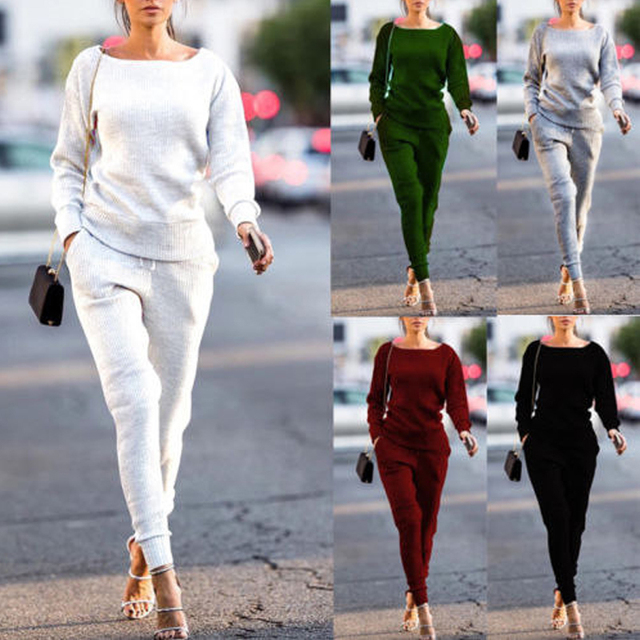 Female Long -Sleeved Trousers Casual Autumn Leisure Suits Women Round Neck Hot Casual Neck Wear Suit