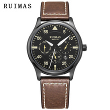 Men Fashion Genuine Leather Strap Watch Automatic Business Mechanical Watches Male Clock Wristwatches RUIMAS Erkek Kol Saati