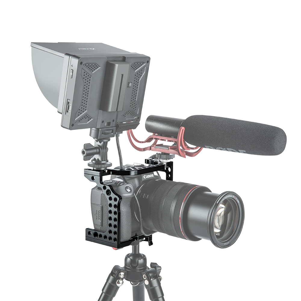 Aluminum Camera Cage Video Film Movie Making Rig Stabilizer for Canon EOS R with Cold Shoe Mount for Magic Arm Microphone Monitor