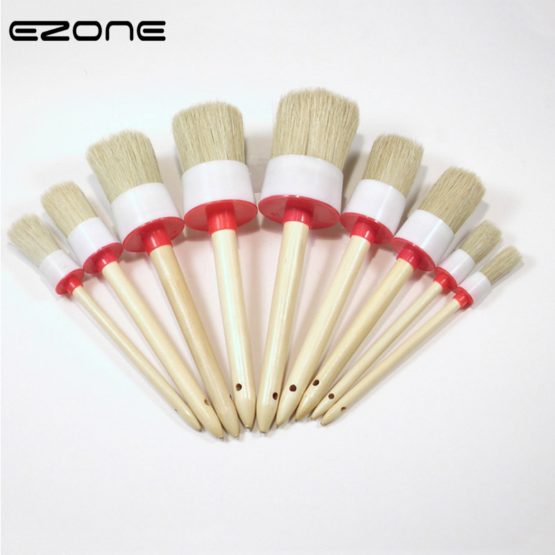 цена на EZONE Bristle Paint Brush Wooden Handel Round Pig Hair Brushes For Watercolor Oil Gouache Acrylic Painting School Offuce Supply