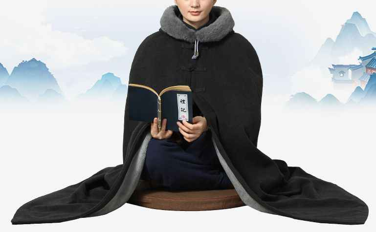 Унисекс Зимние теплые Шаолинь монах Кунг фу костюмы халат буддийский плащ для медитации zen пальто lay мыс монахи форма 7 цветов серый/синий