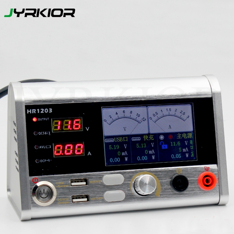 Jyrkior 12V 3A Intelligent Voltage Regulator Current Power Meter 3A Current Oscilloscope For Cellphone Repairs