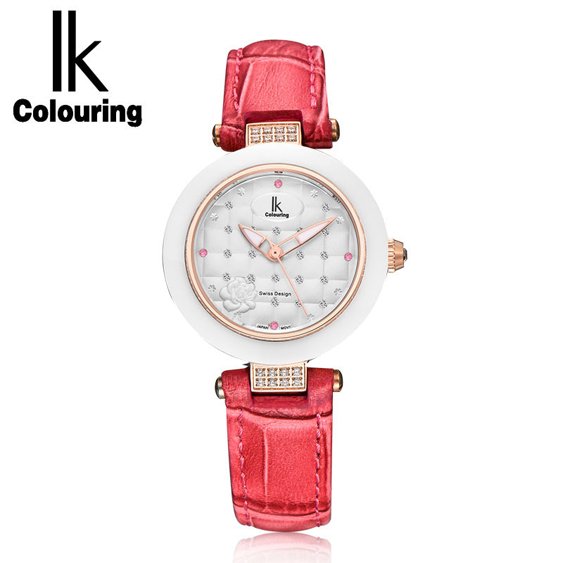 где купить NEW IK Luxury Women's Luminous Hands Quartz Crystal Sapphire Watches Genuine Leather Waterproof Wristwatch Gift Box Free Ship по лучшей цене