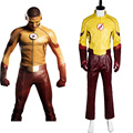 New Young Justice Season 2 Kid Flash Outfit Original 100% Cosplay Costume For Halloween Party Suit Belt Gloves Mask Pants Top