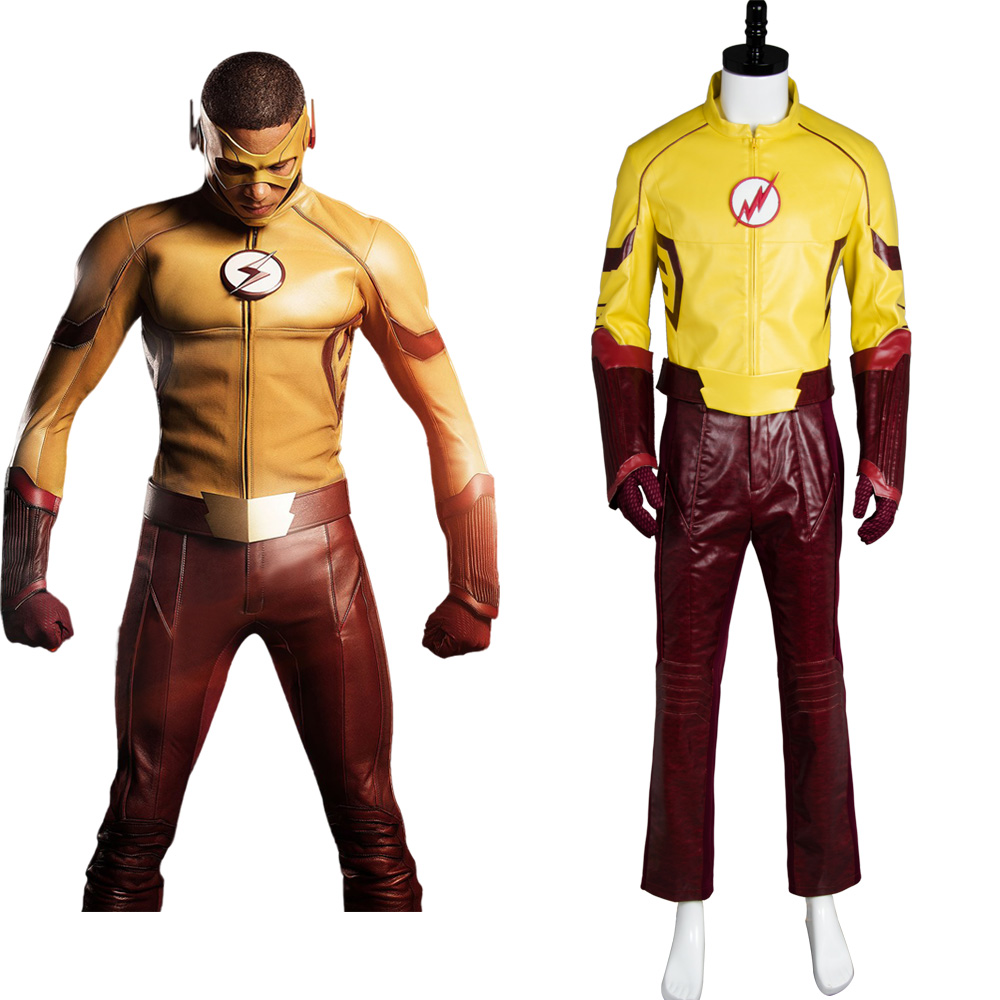New Young Justice Season 2 Kid Flash Outfit Original 100% Cosplay Costume For Halloween Party Suit Belt Gloves Mask Pants Top ...