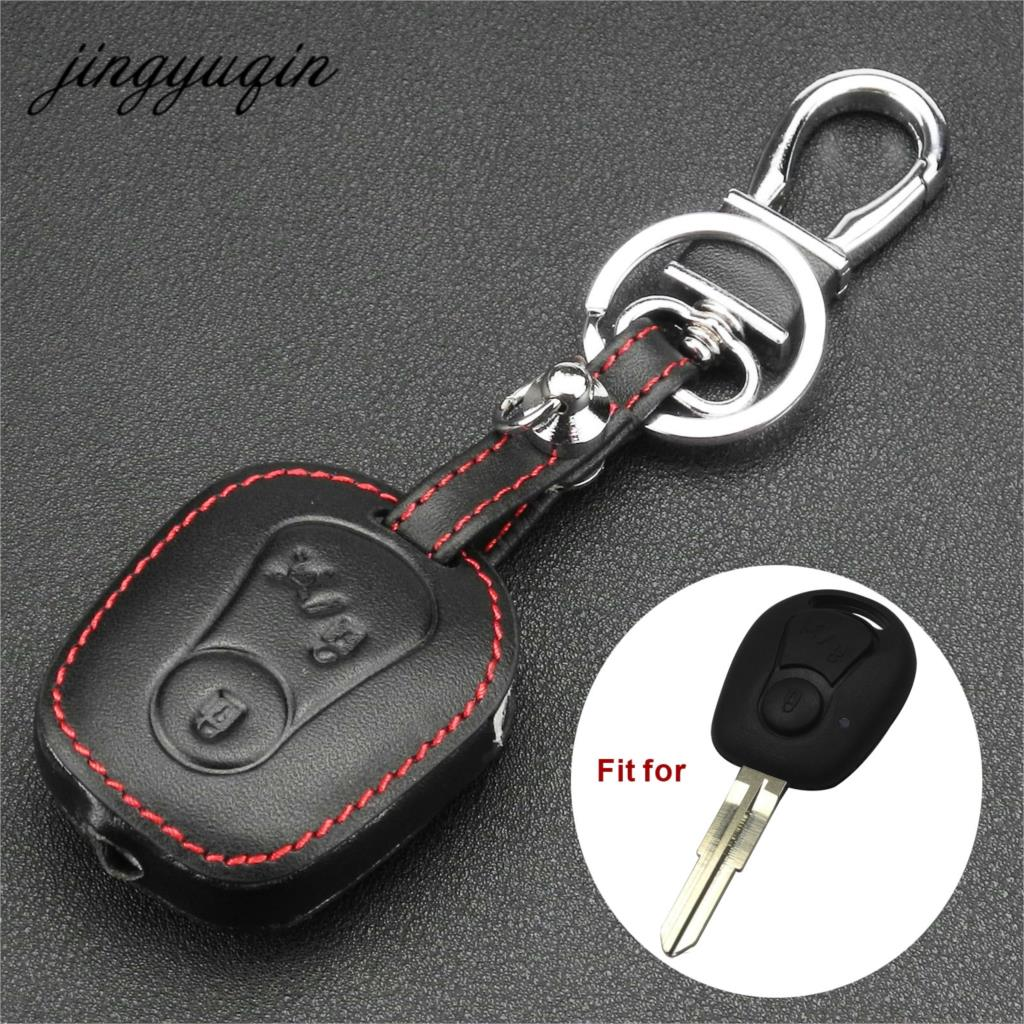 Jingyuqin Leather Cover For Ssangyong Actyon Kyron Rexton 2 Buttons Remote Key Case Protect Holder