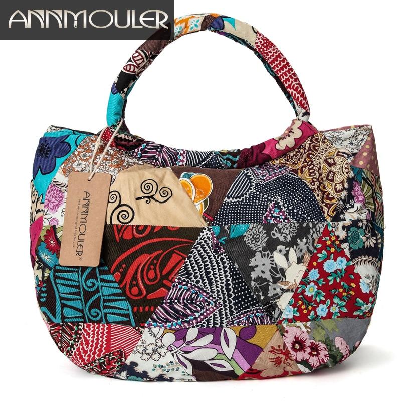Annmouler Vintage Women Shoulder Bag Floral Print Cotton Totes Large Capacity Tribal Tote Bags Patchwork Bohemian Hobo Bag annmouler women shoulder bag high