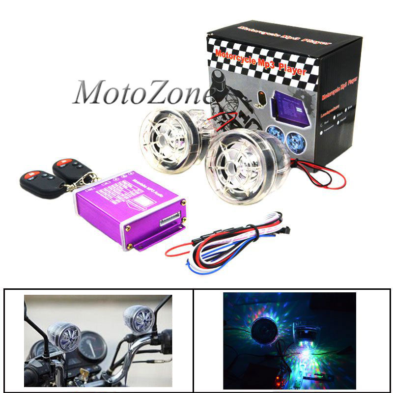 2018 High Quality Motorcycle Waterproof Anti-Theft Audio Speakers FM Radio MP3 Music Player With Flashing Light