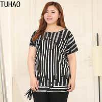 TUHAO 2019 Summer Shirts Female Blouses Shirts 4XL 6XL 8XL 10XL Plus Size Woman Blouses for Women Top Casual Striped Blouse MS57