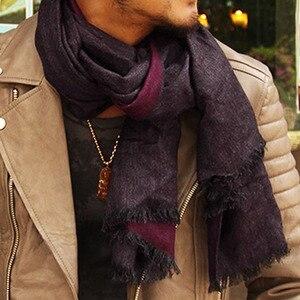 Image 1 - Роскошный брендовый кашемировый шарф для мужчин, модные зимние шарфы с кисточками в британском стиле, теплые зимние шарфы, шаль из пашмины, 2019