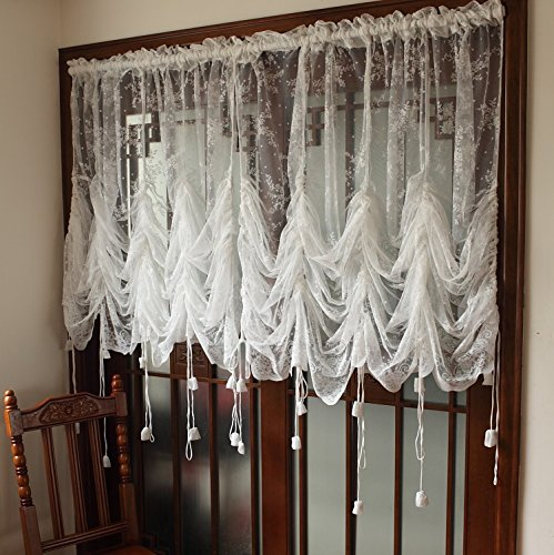 Elegant White Lace Embroidered Sheer Ballon Curtains