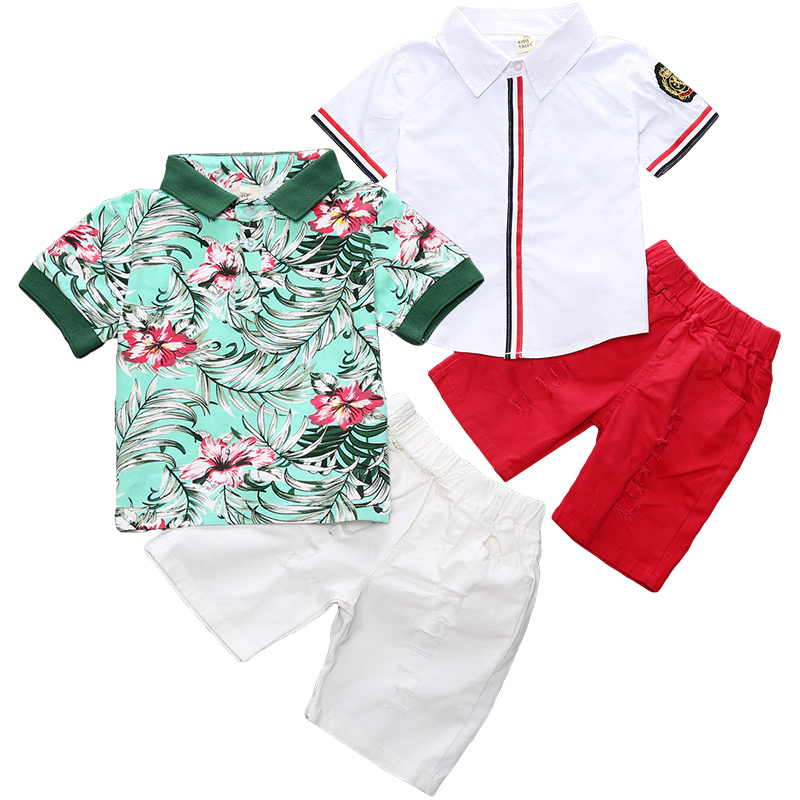 Childrens Boy Fashion Print Baby Set Summer Child Shirt + Pants Two-piece Clothes