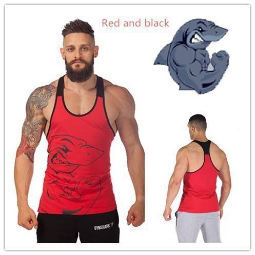 541bb37c Yan GymShark Titan Stringer Tank Top Mens Gym Shark Brand Singlet Tops  Bodybuilding and Fitness Shirt Regatas Clothes Vest Men