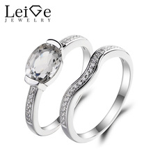 Leige Jewelry Wedding Ring Natural White Topaz Ring November Birthstone Oval Cut Gemstone 925 Sterling Silver Bridal Sets