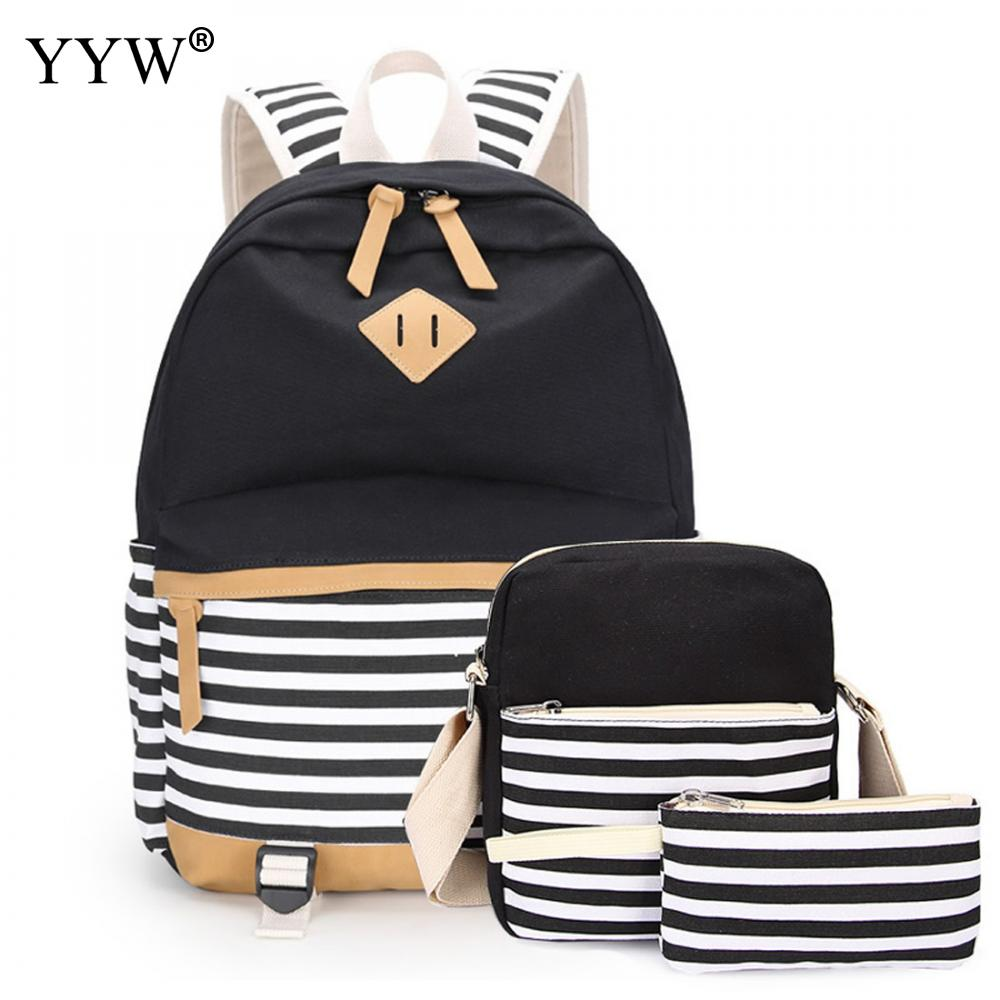 Black Striped 3 Pcs/set Female Backpack Set Canvas Bags For Women Crossbody Bag & Clutches School Backpack For Children