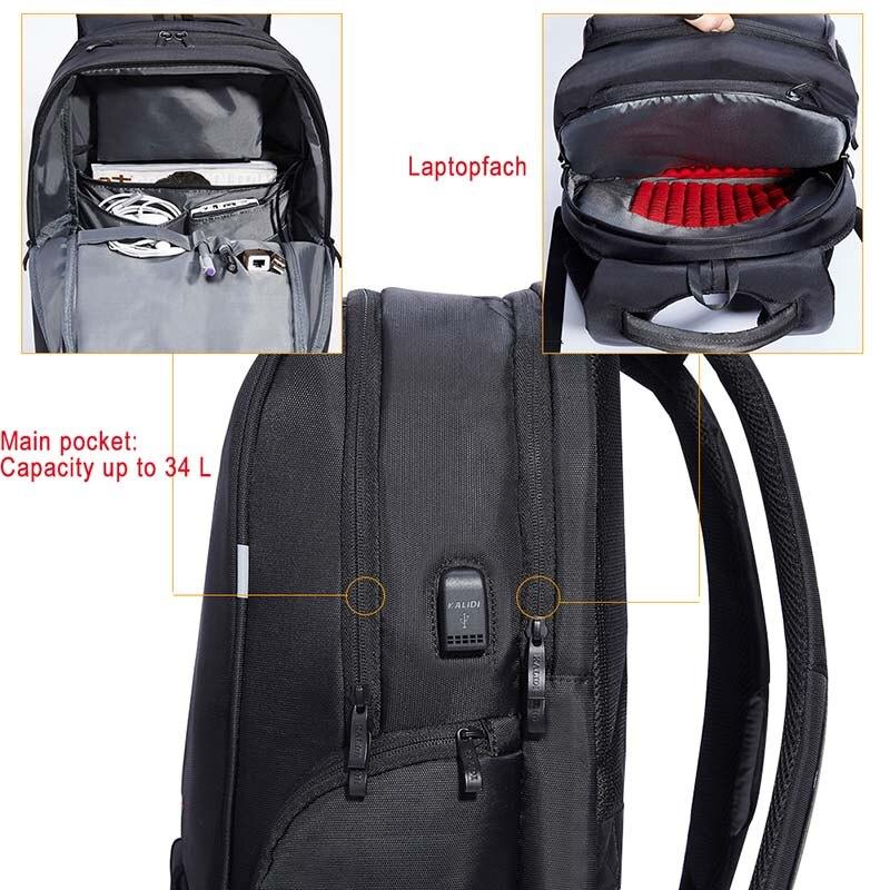 Водонепроницаемая сумка для ноутбука KALIDI, рюкзак 15,6-17,3 дюйма, сумка для ноутбука 15-17 дюймов, сумка для компьютера USB для Macbook Air Pro Dell HP