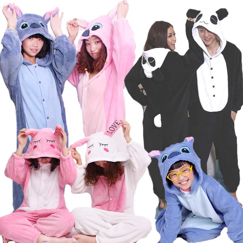 Autumn and Winter Costume Cosplay Flannel Cartoon Animal One Piece Sleepwear Fleece Long-Sleeve Lovers Animal Onsies Pajamas