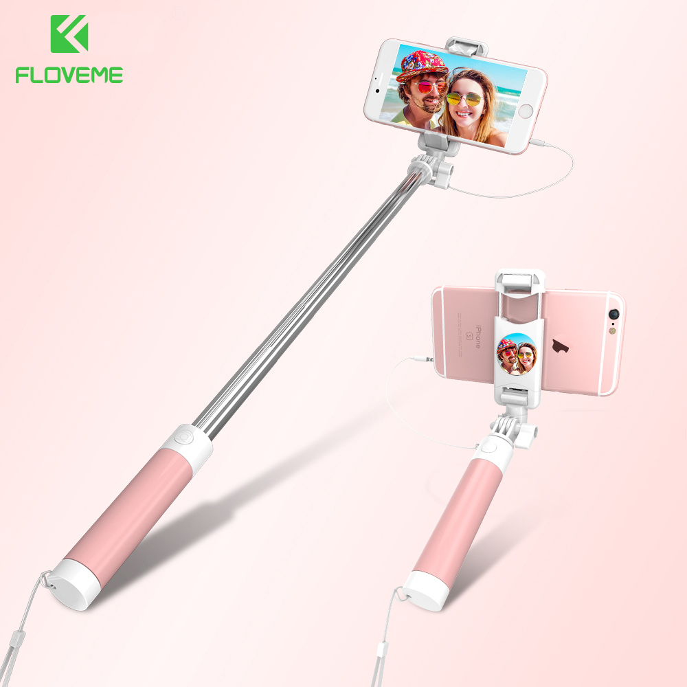 FLOVEME Wired Mini Selfie Stick for iPhone 6 6s plus Foldable Monopod Mirror Wired Selfie Sticks for Samsung Huawei Universal floveme retro genuine leather wallet pouch for iphone 6s plus 6 plus etc coffee