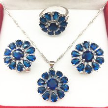 Silver Montana Blue Jewelry Sets Huge Flower Style Earrings/Pendant/Necklace/Rings Size 6/7/8/9 For Women Free shipping(China)