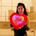 Rosas en forma de corazón almohada luminosa almohada de peluche de juguete de felpa almohada boda colorido resplandor intermitente almohada