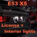 Frete grátis COMBO LED license plate lâmpada e lâmpadas Interiores total de 5 posições para BMW X5 E53