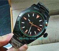 Cristal de safira 40mm parnis mostrador preto asiático movimento automático auto-vento relógio masculino pvd caso relógios mecânicos 148a