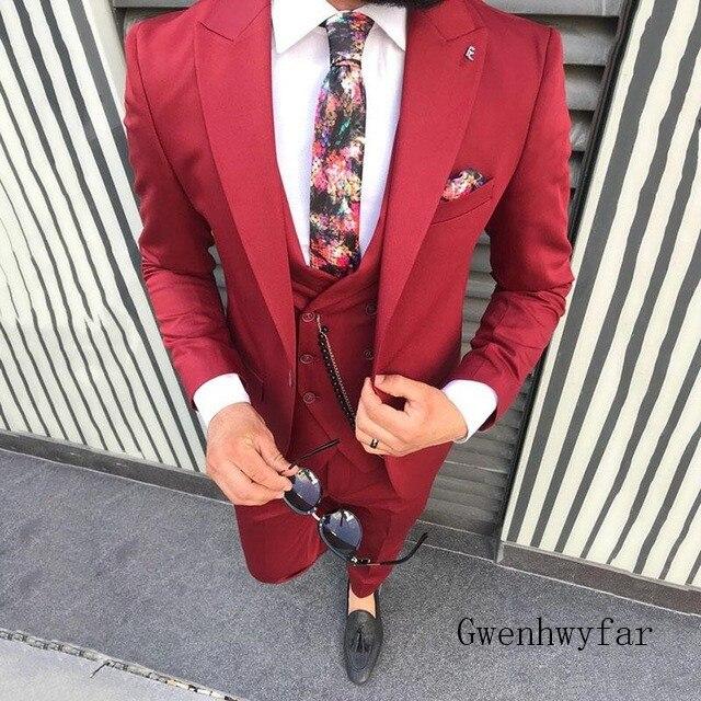 2019 männer der Poika dot Anzug 3 Stück neuesten mantel hose designs Kerbe Revers Smoking Groomsmen Für Hochzeit/party (Blazer + weste + Hosen)-in Anzüge aus Herrenbekleidung bei  Gruppe 3